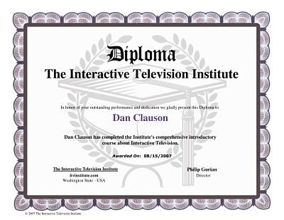 Shrunken example of the iTV Class Diploma